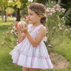 Dolce Petit Spring Summer Girls Pink Stripes Floral Dress