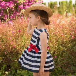 Dolce Petit Spring Summer Girls Navy Stripes Dress Red Bow