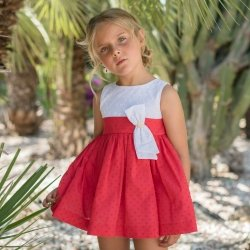 Dolce Petit Spring Summer Girls White Red Dress White Bow