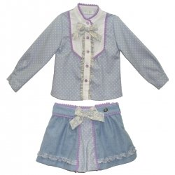 Sale Dolce Petit Girls Blue Polka Dots Blouse And Skirt Outfit