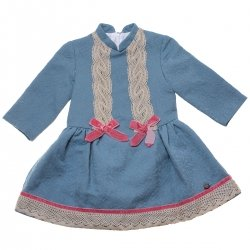 Sale Dolce Petit Girls Blue Dress Brown Frills Pink Bows