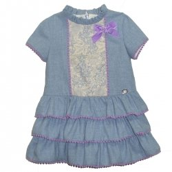 Sale Dolce Petit Girls Blue Ruffle Dress Lilac Frills And Bow