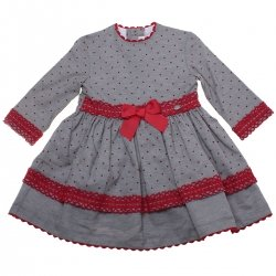 Sale Dolce Petit Navy Grey Polka Dots Dress Red Lace Red Bows