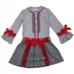 Sale Dolce Petit Girls Grey Stripes Blouse And Skirt Outfit
