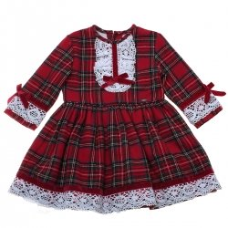 Sale Dolce Petit Navy Red Tartan Dress White Lace Red Velvet Bows