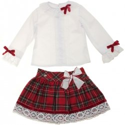 Sale Dolce Petit Girls White Blouse And Red Tartan Skirt Outfit
