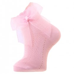 Baby Pink Ankle Socks With Organza Double Bow
