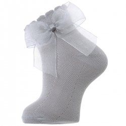 Light Grey Ankle Socks With Organza Double Bow