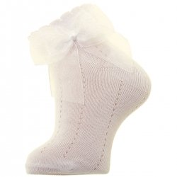 Ivory Socks With Organza Double Bow