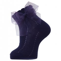 Navy Summer Dress Socks With Organza Double Bow