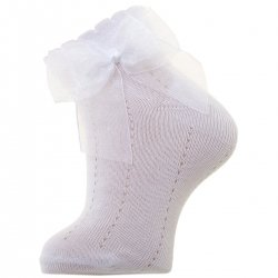 White Ankle Socks With Organza Double Bow