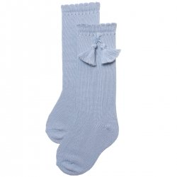 Baby Blue Knee High Cotton Socks With Tassels