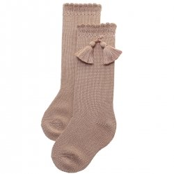 Caramel Knee High Cotton Tassels Socks