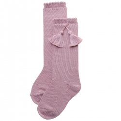 Cotton Rich Dusky Pink Knee High Socks With Tassels
