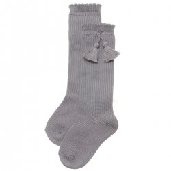 Cotton Rich Light Grey Knee High Socks With Tassels