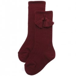 Knee High Ribbed Burgundy Socks With Tassels For Boys And Girls