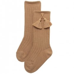 Caramel Brown Knee High Ribbed Socks With Tassels For Boys And Girls