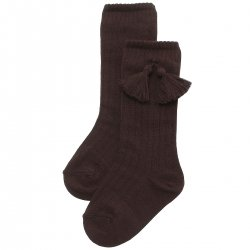 Choco Brown Knee High Ribbed Socks With Tassels For Boys And Girls