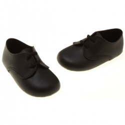 Lace Up Baby Boys Black Shoes Matt Finish