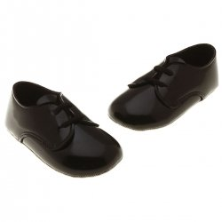 Lace Up Baby Boys Black Patent Shoes