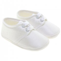 Baby Boys Christening Shoes In White Made in England