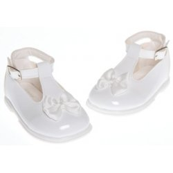 Baby girls white patent shoes with satin bow