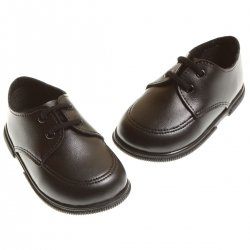 Boys black smart shoes in matt lace fastening