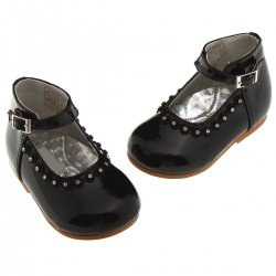 Sales Baby girls black patent shoes with diamonate and beads decoration