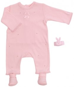 Emile Et Rose Sales Pink All in One Rosebud Romper With Bootee And Wrist Rattle
