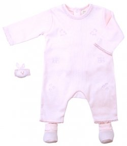 Emile Et Rose Sale Pink romper set with bootees and wrist rattle by Emile Et Rose