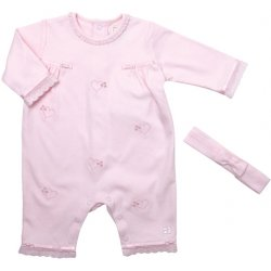 Emile et Rose Baby Girls Pink Romper with Matching Hairband