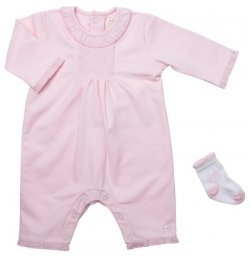 Emile et Rose Sale Baby Girls Pink All In One Smocked Romper with Matching Socks