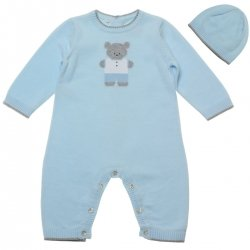 Emile Et Rose Boys Knitted Blue Romper and Hat Set