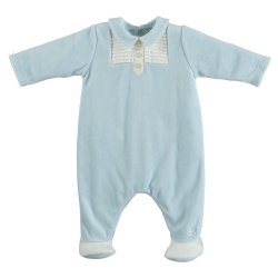 Emile et Rose Baby Boys Blue Footed Romper Pleated Front