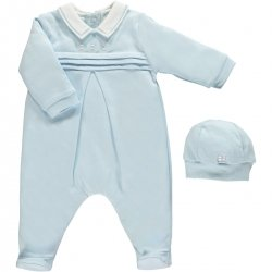 Emile et Rose Baby Boys Blue Romper Pleated Front With Hat