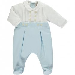 Emile et Rose Baby Boys White Blue Pleates Romper