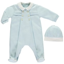 Emile Et Rose Baby Boys Smart Blue Romper With Hat