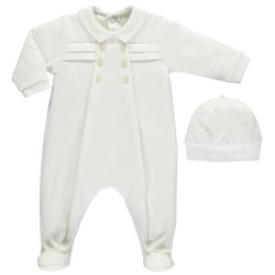 Emile Et Rose Baby Boys Cotton White Romper Outfit With Hat