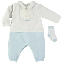Emile Et Rose Baby Boys White Blue Romper With Socks