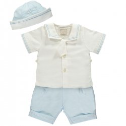 Emile Et Rose Baby Boys 2 Piece White Blue Linen Sailor Outfit