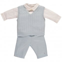Emile Et Rose Baby Boys Smart Knitted Blue White 3 Piece Set