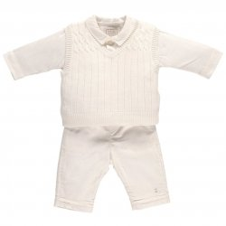 Emile Et Rose Baby Boys Smart Knitted Ivory 3 Piece Set
