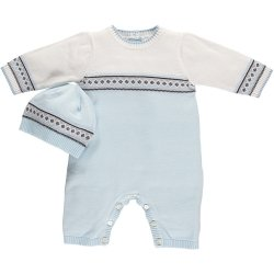 Emile Et Rose Baby Boys Smart Knitted Blue Ivory Romper Outfit