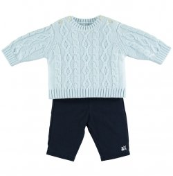 Emile Et Rose Baby Boys 2 Piece Knitted Blue Jumper And Navy Trousers Outfit