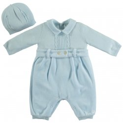 Emile Et Rose Baby Boys Blue Knitted Velour Romper With Hat
