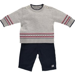 Emile Et Rose Baby Boys Grey Knitted Top Navy Trousers Smart Outfit