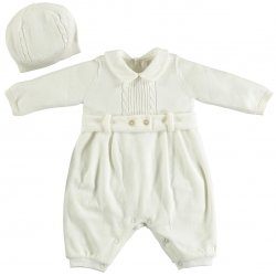 Emile Et Rose Baby Boys Ivory Knitted Velour Romper With Hat