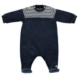 Emile Et Rose Baby Boys Navy Velour Footed All In One Romper