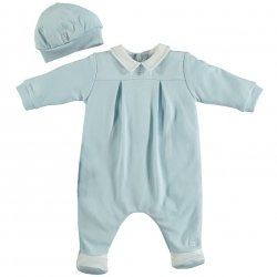 Emile Et Rose Baby Boys Pale Blue All In One Romper With Hat