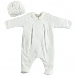 Emile Et Rose Baby Boys White All In One Smart Romper Outfit With Hat